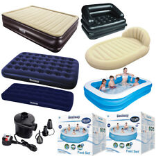 BESTWAY 5 in 1 INFLATABLE DOUBLE SOFA QUEEN AIR BED POOL POWERGRIP ELECTRIC PUMP