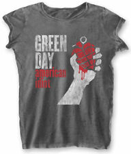 Green Day 'AMERICAN IDIOT VINTAGE' Womens Burnout T-shirt - NUOVO E ORIGINALE