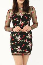 Embroidered Floral Mesh Bodycon Dress - Black