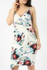 Floral Pleated Wrap Bodycon Dress - Ivory