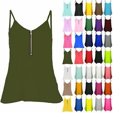 Womens Strappy Flared Swing Tank Front Zip Cami Ladies T Shirt Vest Dress Top