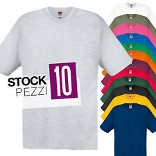 Pacco 10 Magliette Da Stampare Stock T-Shirt Cotone Fruit of The Loom Original T