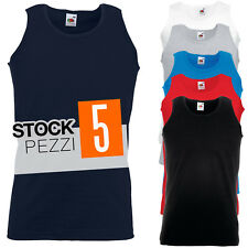 Pacco 5 Canotte Da Lavoro Stock T-Shirt Smanicate Cotone Fruit of The Loom