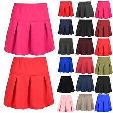 Womens High Waist Pleated A-Line Ball Gown Swing Pleated Ladies Girls Mini Skirt