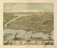 Poster Print Antique American Cities Towns States Map Hudson St Croix Wisconsin