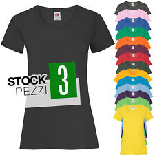 Pacchetto 3 T-Shirt Donna Magliette 100% Cotone Fruit of The Loom Prezzo Stock