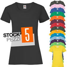 Pacchetto 5 T-Shirt Donna Magliette 100% Cotone Fruit of The Loom Prezzo Stock