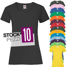 Pacchetto 10 T-Shirt Donna Magliette 100% Cotone Fruit of The Loom Prezzo Stock