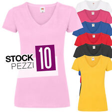 Pacchetto 10 T-Shirt Donna Magliette Scollo a V Fruit of The Loom Prezzo Stock