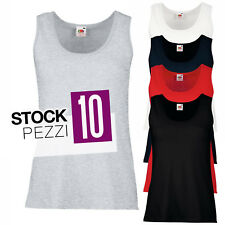 Pacchetto 10 Canotte 100% Cotone Donna Stock T-Shirt Smanicate Fruit of The Loom