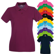 Polo Da Lavoro T-Shirt Maniche Corte Donna 100% Cotone Piquet Fruit of The Loom