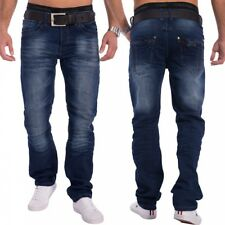 Jeans Uomo Voiron Blu Scuro Regular Fit Denim Slavato gamba diritta