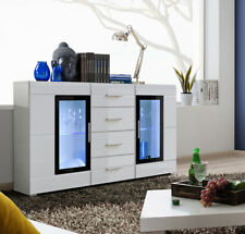 sideboard Highboard Commode, armoire console couronne haute brillance LED