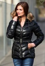 WOMENS BLACK DUCK DOWN QUILTED PUFFER  COAT JACKET FUR PARKA UK  8/10