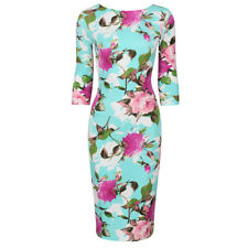 Turquoise Blue Floral Print 3/4 Sleeve Bodycon Pencil Wiggle Dress