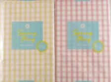 Gingham Check Vinyl Flannel Back Tablecloth Pink & Pale Yellow Various Size