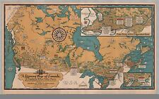 Poster Print Antique Old Maps 1936 Reprint Literary Map Canada