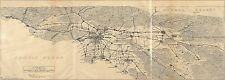Poster Print Antique Old Maps 1905 Automobile Southern California Los Angeles