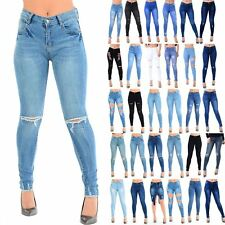 Ladies Womens Skinny Slim Frayed Fitted Denim Ripped Jeans Whiskers Hem Trousers