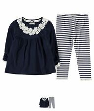 MODA Crafted Two Piece Tunic Set Infant Girls Navy Crochet
