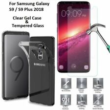 Slim Silicone TPU Clear Case Cover & Screen Protector For Samsung Galaxy S9 Plus