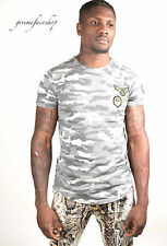 Time Is Money GRIGIO STAR T Camicie, G uomo Hip Hop T-SHIRT CAMOUFLAGE MILITARE
