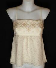New Women's French Connection Strappy Embroidered Silk Crop Top RRP£55 Ivory
