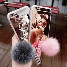 Metal Tassel TPU Mirror Case Cover Finger Ring Stand Fur Ball For Iphone Samsung
