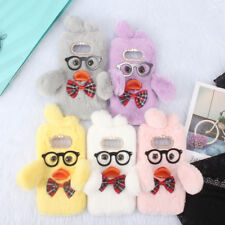 Lovely Duck Comfy Fluffy Rabbit Fur Case Crystal Bowknot Phone Cover for Samsung