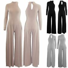 Ladies Women All In One Palazzo One Shoulder Turtle Neck Wide Leg Pants Jumpsuit