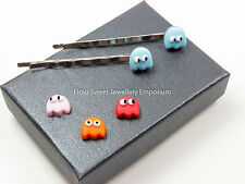 pac man ghost hair slide handmade fimo/ polymer clay xmas gift idea comes boxed