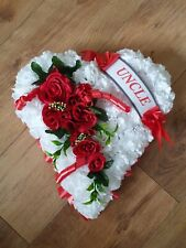 Heart Shaped Funeral Wreath - Artificial Silk Flower Memorial Tribute (S1)