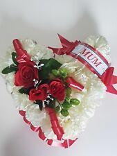Heart Shaped Funeral Wreath - Artificial Silk Flower Memorial Tribute (H3)