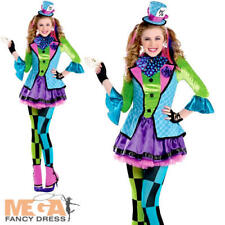 Mad Hatter Girls Fancy Dress Book Character Kids Alice In Wonderland Costume