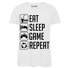 T-Shirt Divertente Donna Maglia Con Stampa Ironica Nerd Eat Sleep Play Tuned