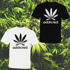 Unisex Addicted Cannabis Leaf T-shirt Marijuanna 420 Smoke Weed Pot Ganja S-2XL