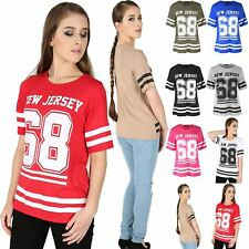 Womens Plus Size NEW JERSEY 68 Stripes Ladies Varsity Baggy Oversize T Shirt Top
