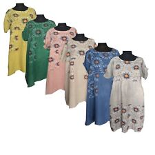 Womens Lagenlook Two Pockets Turn Up Short Sleeves Linen Floral Dress Plus Size