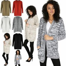 Womens Ladies Chunky Waffle Open Front Pocket Top Cable Knit Boyfriend Cardigan