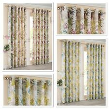 Sundour Paradise Tropical Palm Leaf Fully Lined Eyelet Curtains Heather or Teal