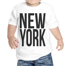 T-Shirt Neonato New York Scritta Nera Idea Regalo