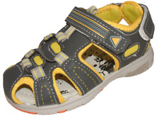 Boys Grey Yellow Riptape Closed Toe Summer Sandals Shoes 4-6 FG Fit NEW