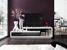 Abberly Black White High Gloss TV Unit Cabinet Stand Lowboard With 2 Drawers