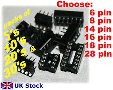 Ic Enchufes 6 8 14 16 18 28 Pin DIL DIP SOCKET 5 , 10 , 20 OR 30 Pack - STOCK RU