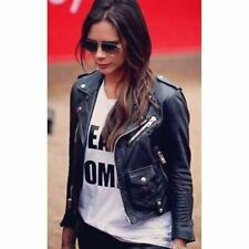 VICTORIA BECKHAM WOMENS LADIES SLIM FIT REAL GENUINE BIKER STYLE LEATHER JACKET