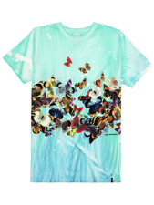 T-shirt Huf uomo Butterfly effect tee verde in cotone manica corta a fantasia