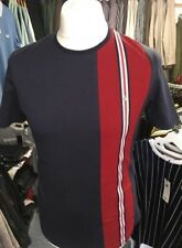 "Gabicci Vintage ""Beta"" Crew Neck T Shirt, Navy,Racing Stripe ,Mod,60s,Retro,Soul"