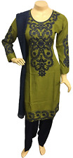 Indian Pakistani Embroidered Linen Suit, Casual Stitched Shalwar Kameez Salwar