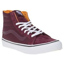 New Womens Vans Maroon Sk8-Hi Suede Trainers Hi Top Lace Up Zip