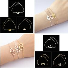 Women's Trendy Stainless Steel Leaf & Double Hearts Link Chain Bracelets Gift UK